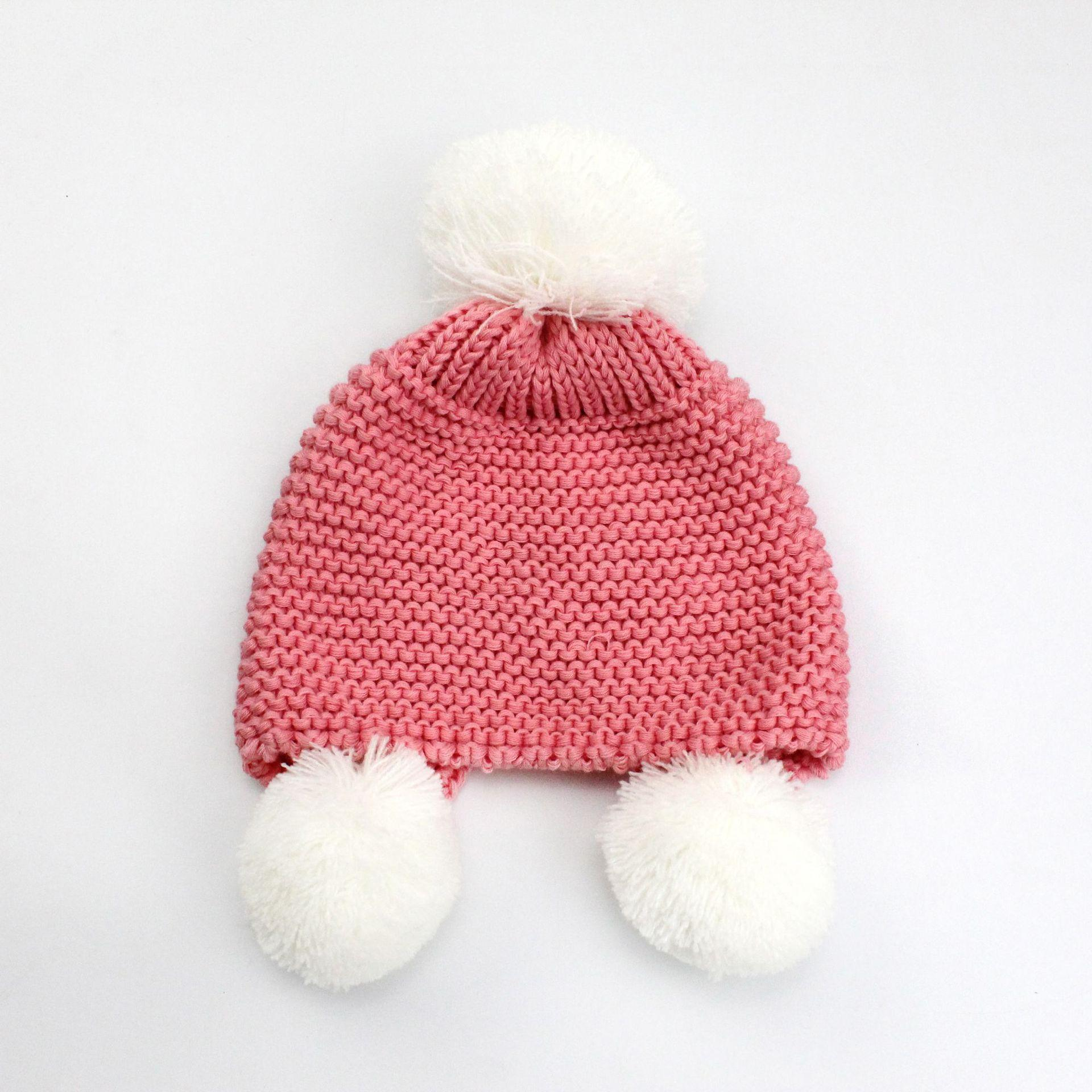 2019 New Autumn And Winter Baby Ear Protector Cotton Warm Knitting Ball Caps  Children Slouchy Head Warmer Baby Hip Hop Snow Caps Gift From Star ant dd635d68b1a