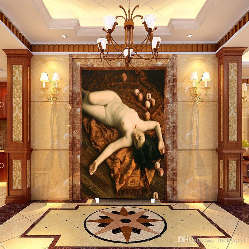 large mural hotel living room bedroom entrance background Wall paper European oil painting character body art nude wallpaper