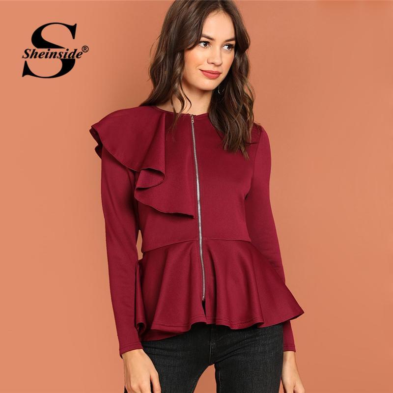 a380798a645 Sheinside Burgundy Autumn Winter Jacket Women Coat Flounce Detail Zip Up  Peplum Coats And Jackets 2018 Casual Womens Outerwear