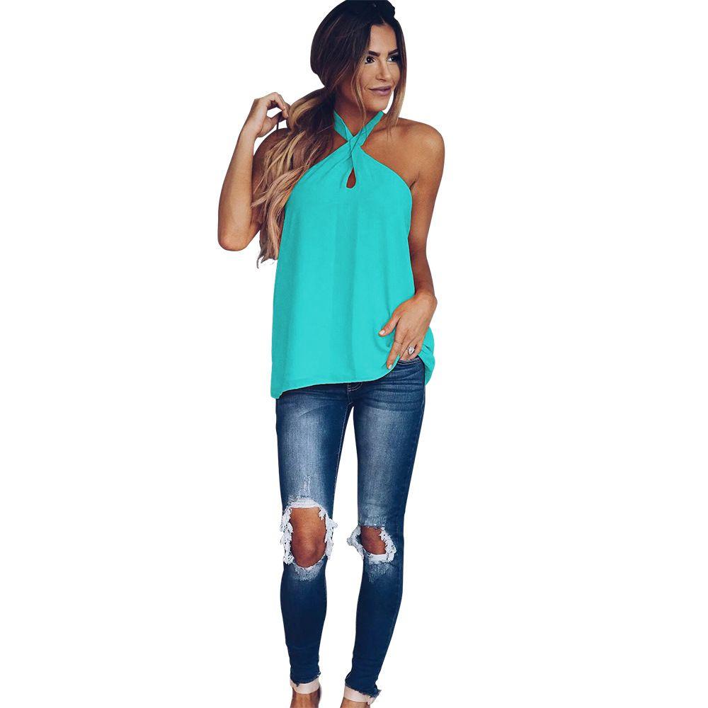 2019 Yeni tasarım ultra moda katı renk casual bayanlar T-shirt hollow straplez seksi T-shirt büyük boy nefes rahat T-shirt 9130