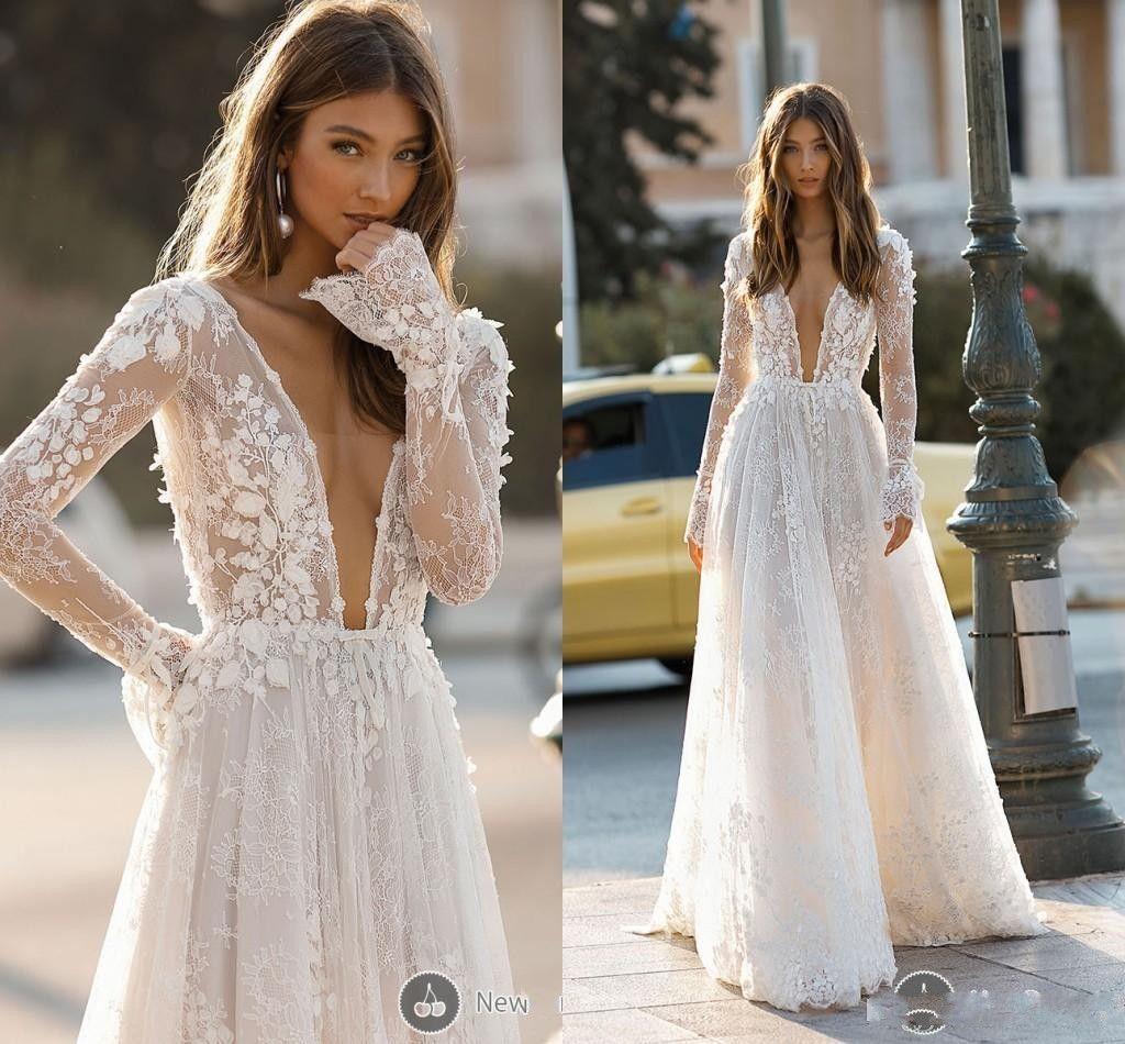 f8c7779ec3eb Discount 2019 Elegant Wedding Dresses Sexy Deep V Neck Backless 3D Flora  Lace Appliques Long Sleeve Beach Garden Berta Bridal Gowns Custom Made  Beach ...