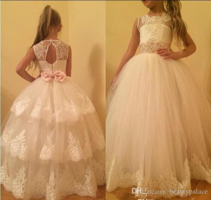 Adorable White Ivory Flower Girl Dresses Tutu Cupcake Skirt Layers Sheer Crew Neck Appliques Beaded Bow Sash Applique Long Girls Formal Gown