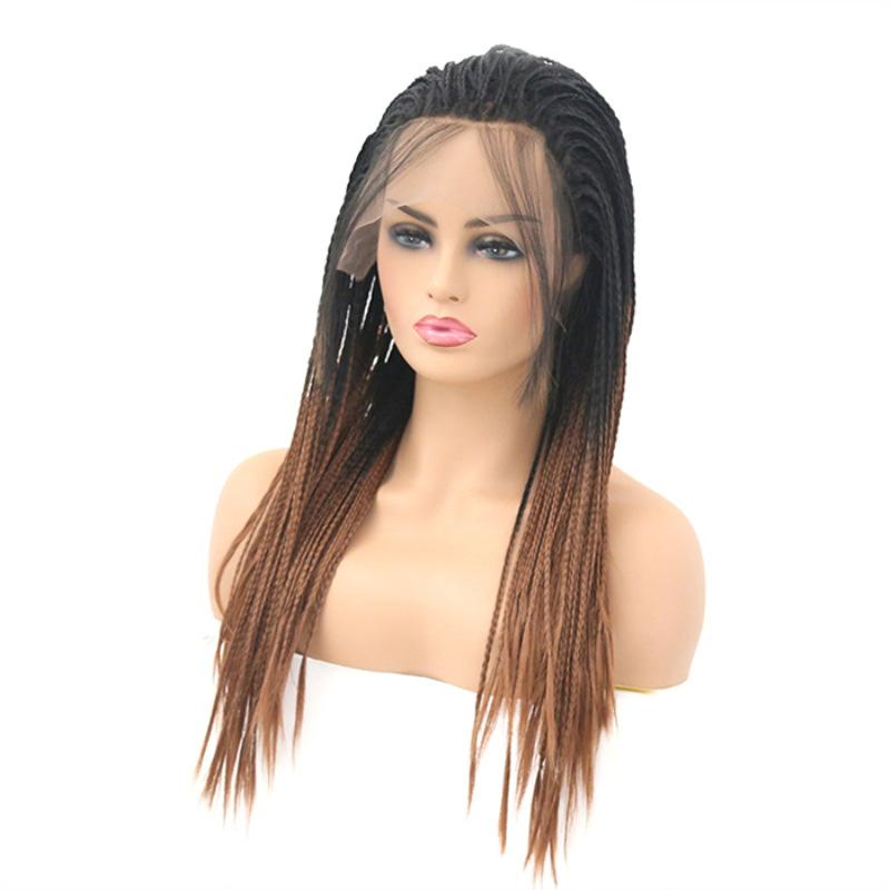 New Gradual Change Three-strand Braid Pre-lace Chemical Fiber Wig Headset High Temperature resistant Silk Woman's Wig