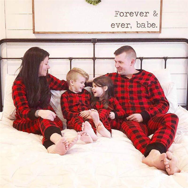 Noel Karikatür Casual Tulum Kadın Erkek Çocuk Düğme Uzun Kollu tulum Aile Şenliği Giyim Ev Giyim yazdır
