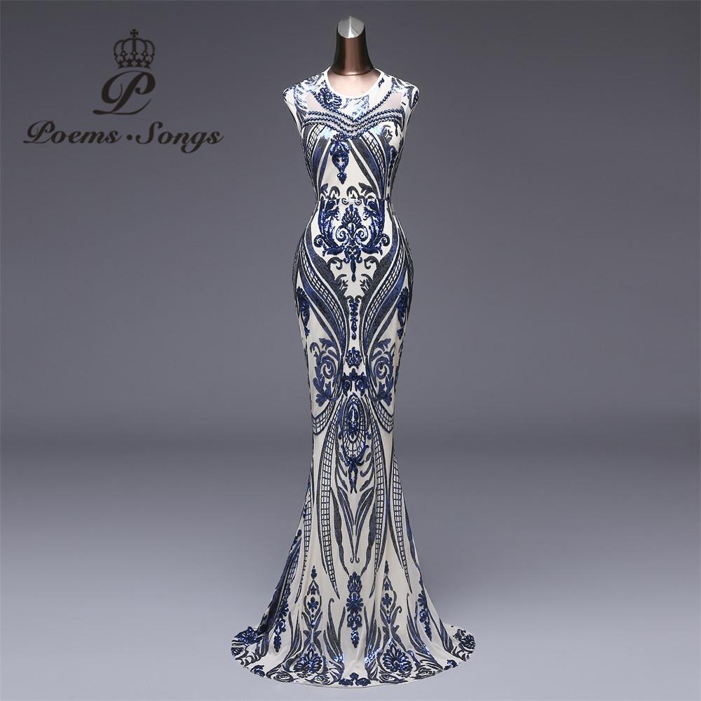 Poems Songs 2018 New Elegant Blue Sequin Evening Dress Vestido De ... 4ae71e883f2f