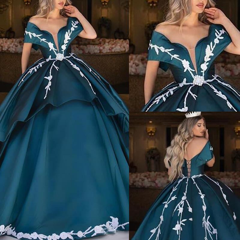 2020 Off Shoulder Teal Blue Quinceanera Dresses Satin Arabic Ball Gown Prom Dress Sweet 16 Dress Plus Size