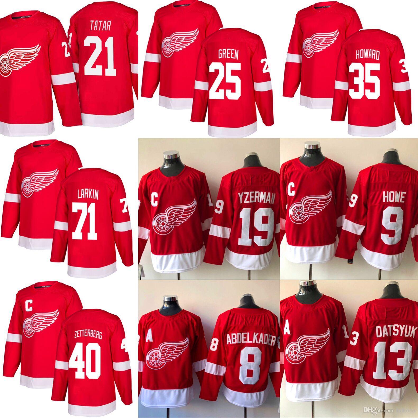 purchase cheap 9cd7b fadfb 2018-2019 Detroit Red Wings Hockey Jersey 13 Pavel Datsyuk 8 Justin  Abdelkader 19 Steve Yzerman 71 Larkin 9 Howe 40 Henrik hockey Jerseys