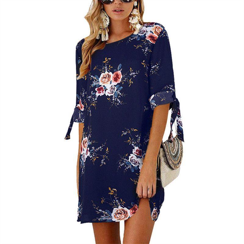 Summer Women Boho Floral A Line Loose 2XL Crew Neck Tunic Party Gown Shirt Dress