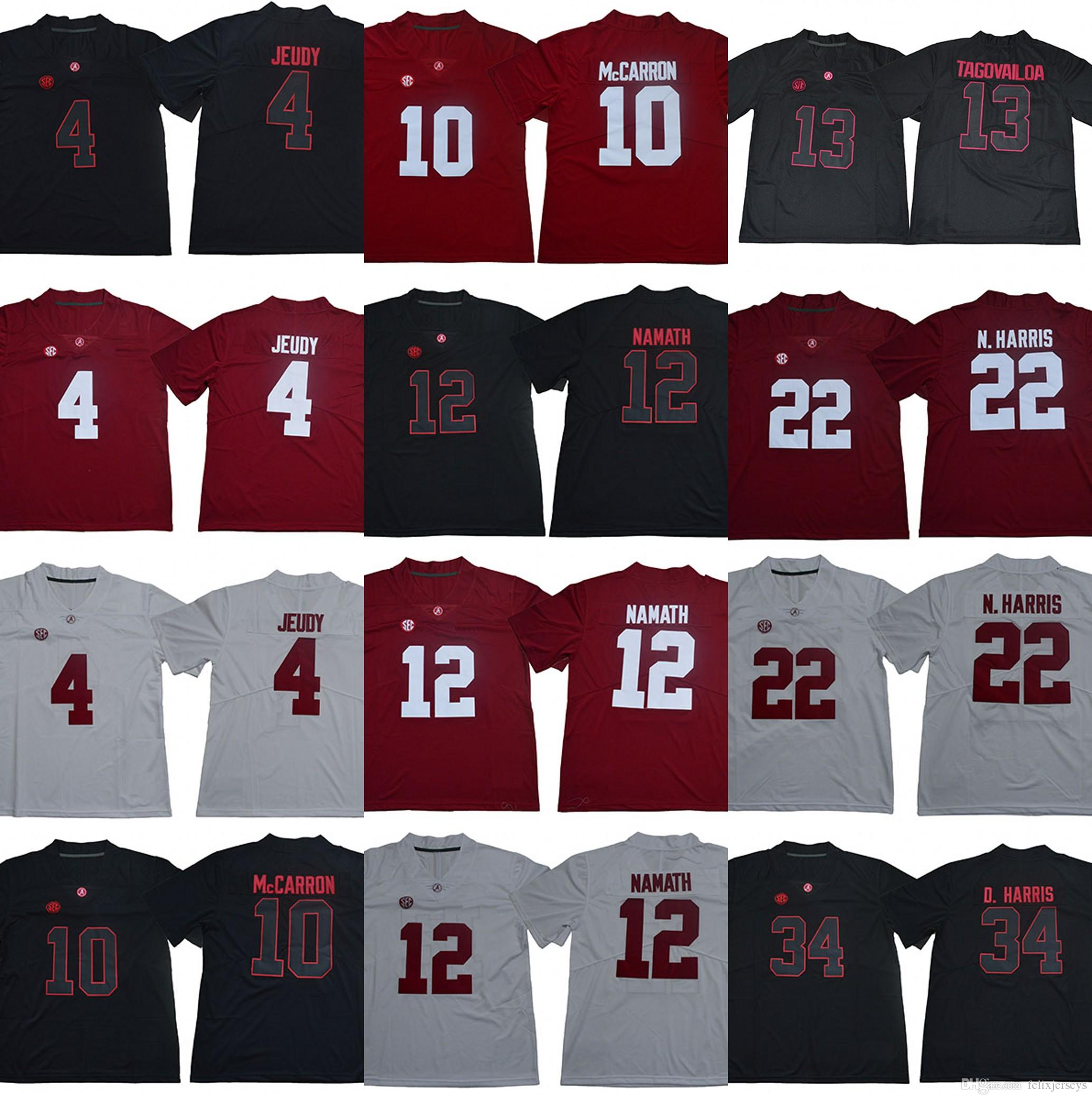 f276e5745 13 Tua Tagovailoa Alabama Crimson Tide 4 Jerry Jeudy 10 AJ McCarron 12 Joe  Namath 22 Najee N. Harris 34 Damien Harris College Jerseys UK 2019 From ...