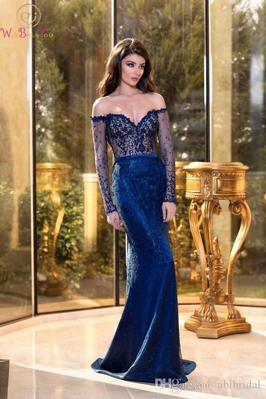 Sexy Blue Evening Dress Mermaid Sweetheart Neck Sweep Train Lace Trumpet Off Shoulder Vintage Long Sleeve Sequined Prom Gown