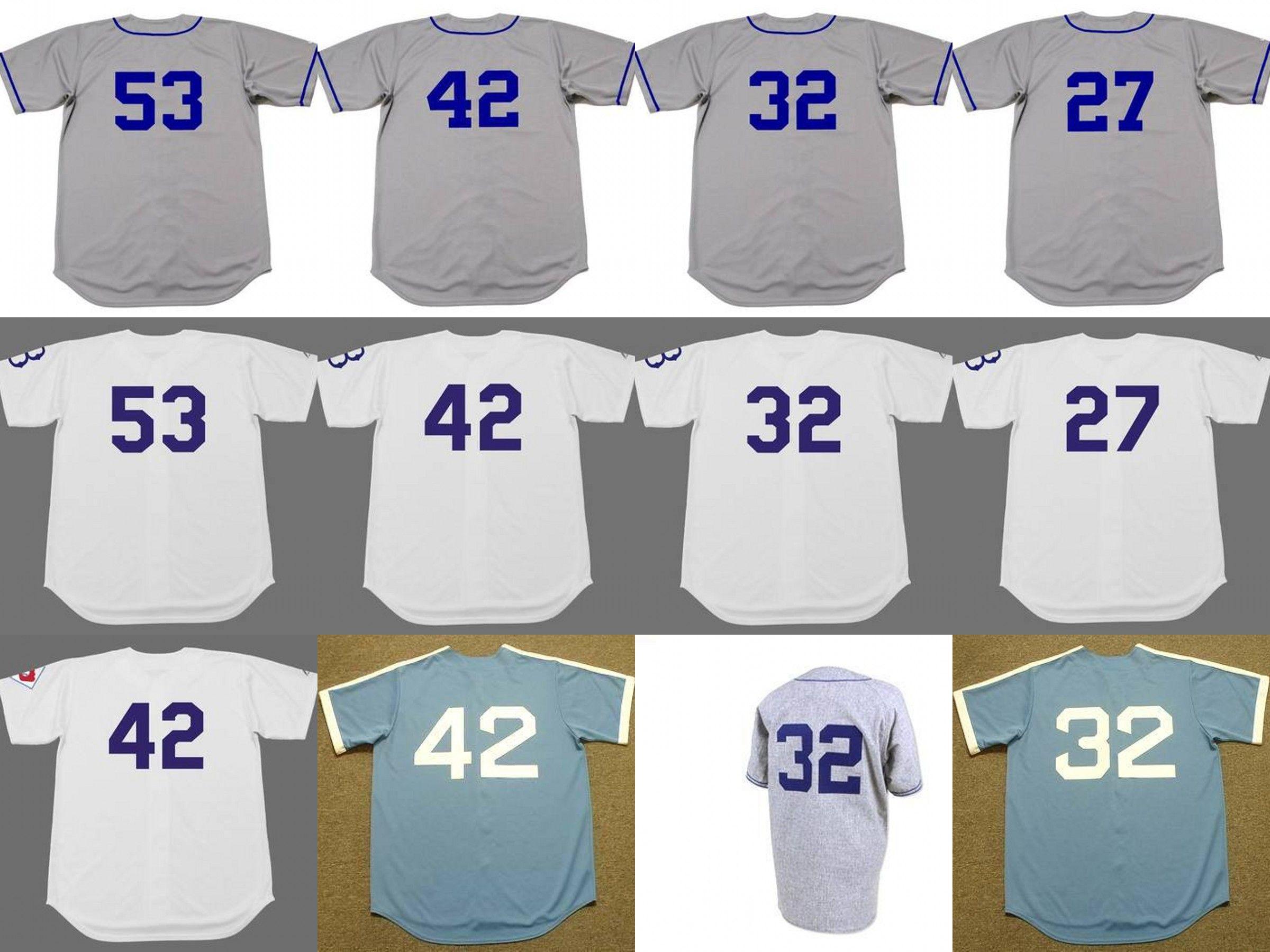 newest 0ace9 1cf34 men youth women BROOKLYN DODGERS 53 DON DRYSDALE 27 TOMMY LASORDA 32 SANDY  KOUFAX 42 ROBINSON Baseball Jersey