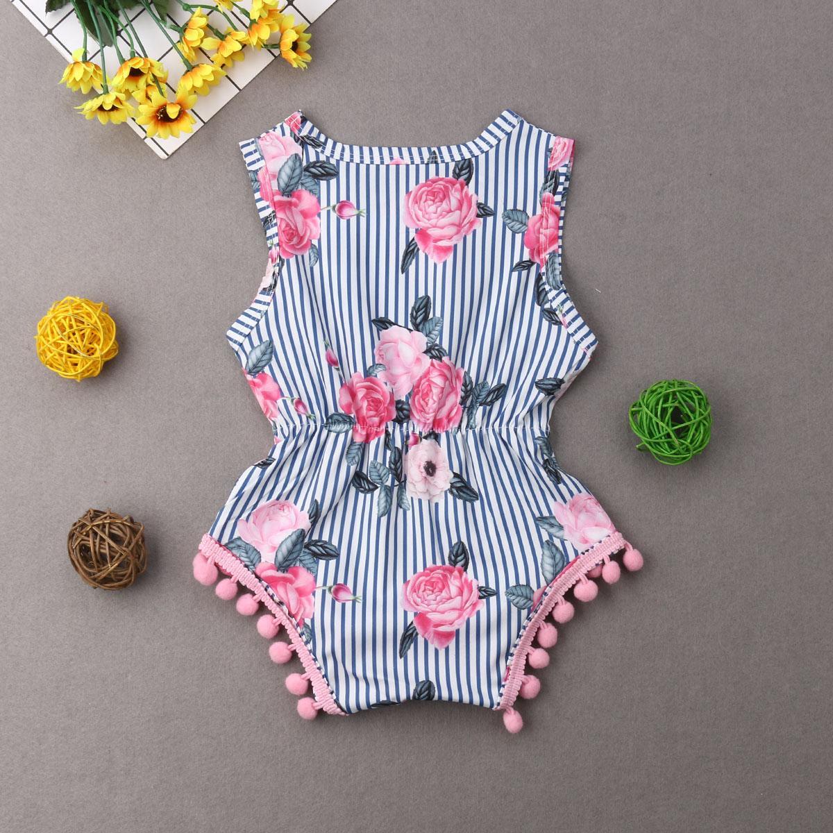 Été nouveau-né du nourrisson Bébés filles Bodys Floral Jumpsuit Mode Tassel manches Tout-petit bébé Sunsuit Vêtements Beachwear