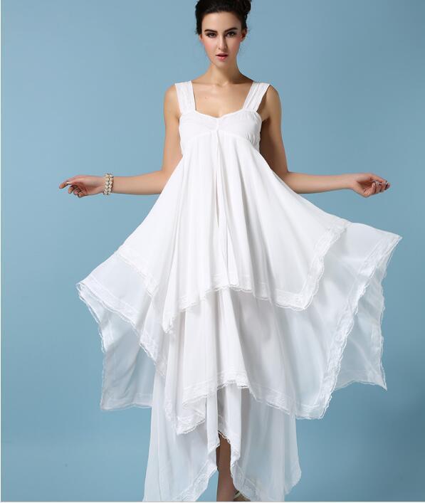 Summer Plus Size Women Ladies White Chiffon Ruffle Dress ...