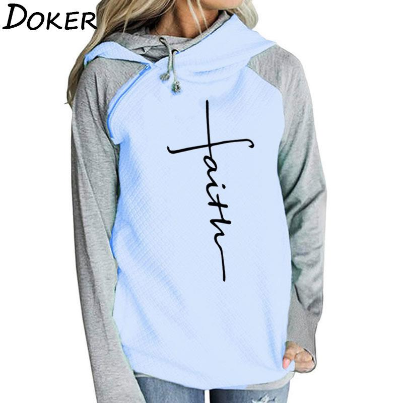 0423b5d8f7 Autumn Long Sleeve Patchwork Hoodies Women Letters Faith Embroidered Pocket  Sweatshirts Winter Female Fleece Warm Pullover Tops Online with  32.0 Piece  on ...