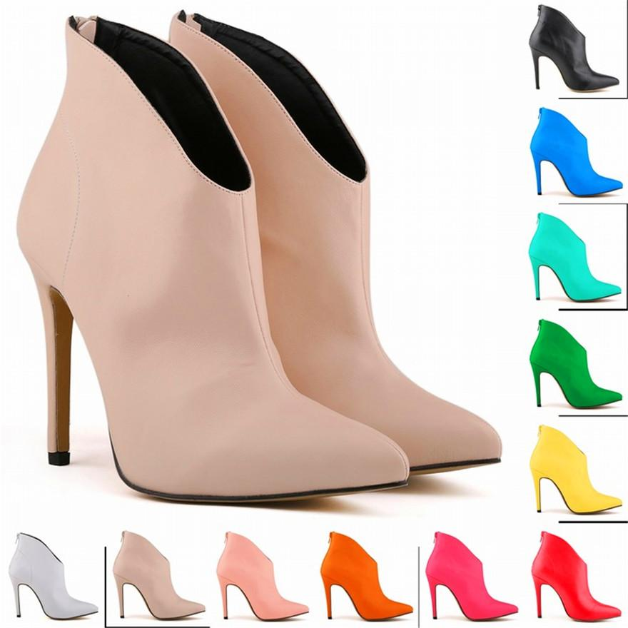 Matte Leather Women Shoes Retro High Heel Ankle Boots Female Pointed Toe Sexy Party Boots Zipper Autumn Short Size 35-42