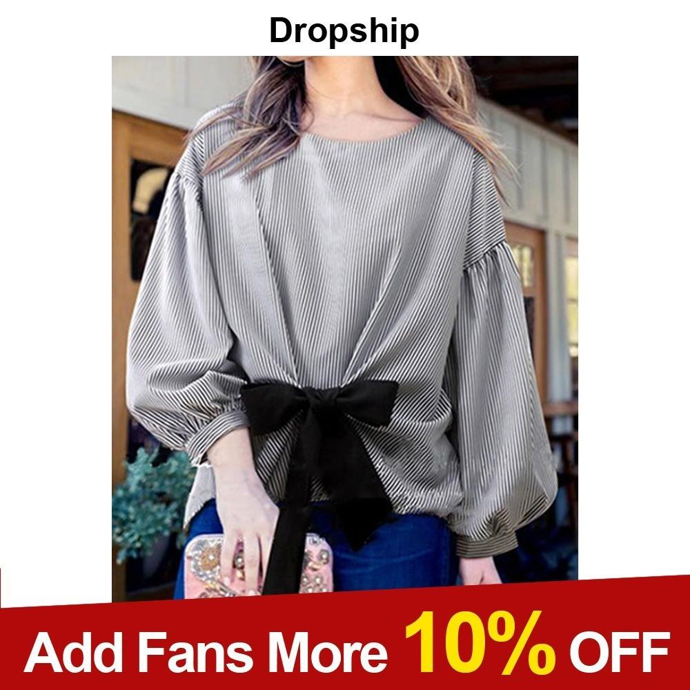 056c5e96504 2019 Dropship Womens Tops And Blouses Plus Size Shirt Blouse Shirts  Streetwear Blusas Mujer De Moda 2018 Ladies Sheer Top Striped Bow From  Bunnier
