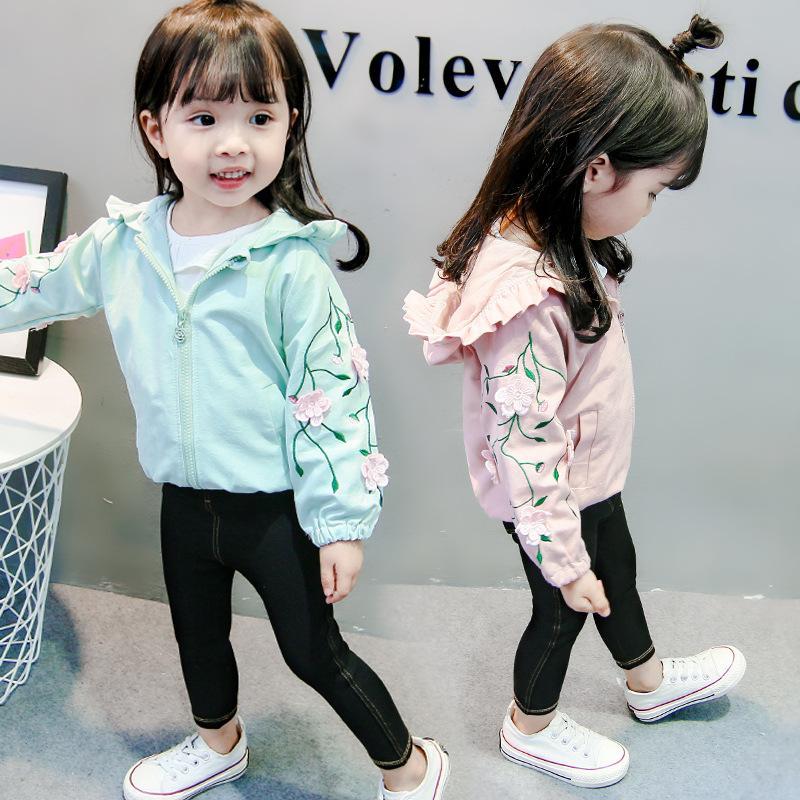 b6e0383e423 Spring Little Girls Jackets Hooded Floral Casual Kids Girl Coats Zipper  Cardigan Toddler Girls Jacket Cute Children'S Ourterwear Boys Padded Jacket  Boys ...