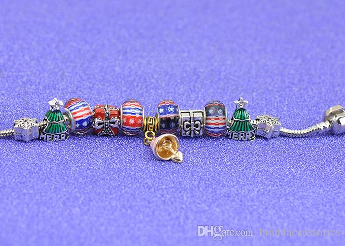 Xmas Mushroom Pendants Charm Bracelets Fit Pandora Girls Crystal Glass Beads Bangle Silver Snake Chain Jewelry Christmas Gift Kids P103