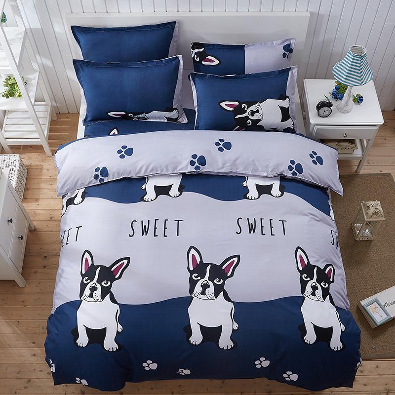 Nette Karikatur Hund Landschaft Liebe Englisch Japan 4 Stücke 3 Stücke Bettbezug Sets Weichen Polyester Bettwäsche Flachbettlaken Set Kissenbezug