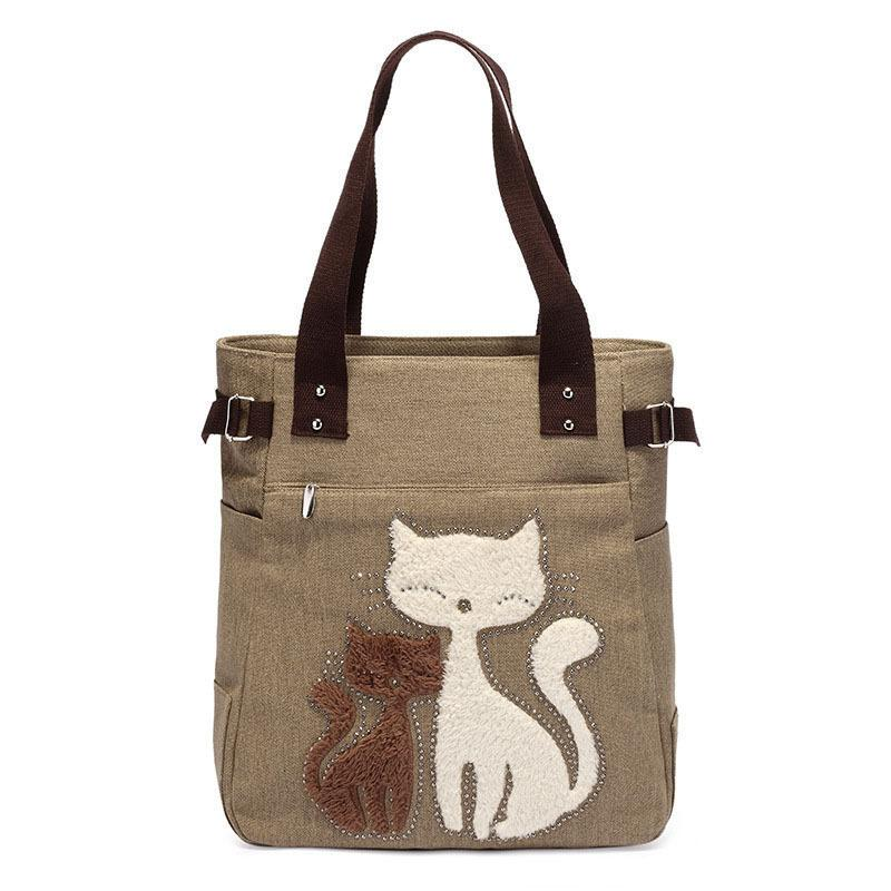 good quality 2019 Fashion Women Canvas Handbag Cute Cat Appliques Travel Shoulder Bags Causal Lady Handbags Female Shoulder Tote