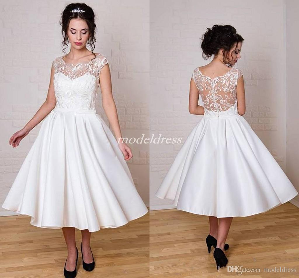Cheap Plus Size Wedding Dresses Tea Length