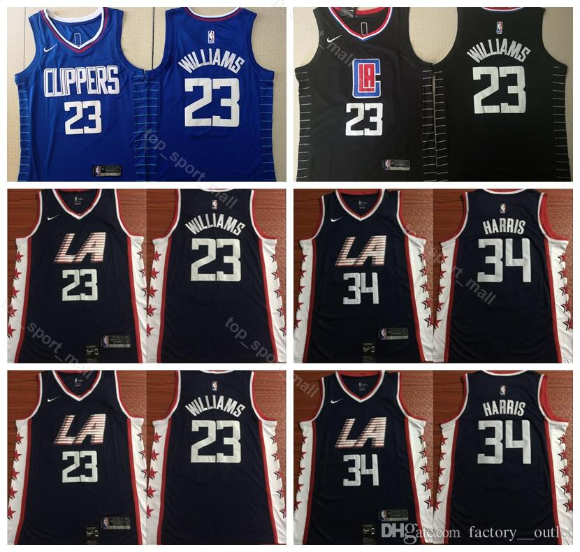 timeless design 80e6a e7c2f 2019 City 23 Lou Williams Jersey Men Los Angeles Basketball Clippers 34  Tobias Harris Jerseys Team Color Navy Blue Black White Edition