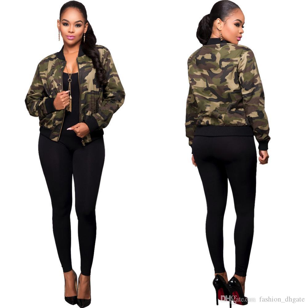 c43c442e48f85 Camo Jackets Women Fashion Army Green Bomber Zip Cool Coats Female Summer  Overcoat Tops Air Foce Casual Outerwear Black Leather Bomber Jacket Ladies  Leather ...
