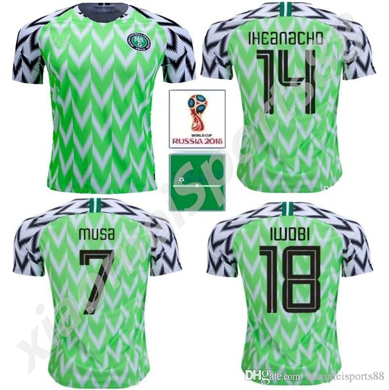2019 2018 World Cup Nigerian Soccer Jerseys 9 STARBOY 10 MIKEL NDIDI SHEHU  14 IHEANACHO 7 MUSA 18 IWOBI Custom Home Away Football Shirt. 7ed42fa3c