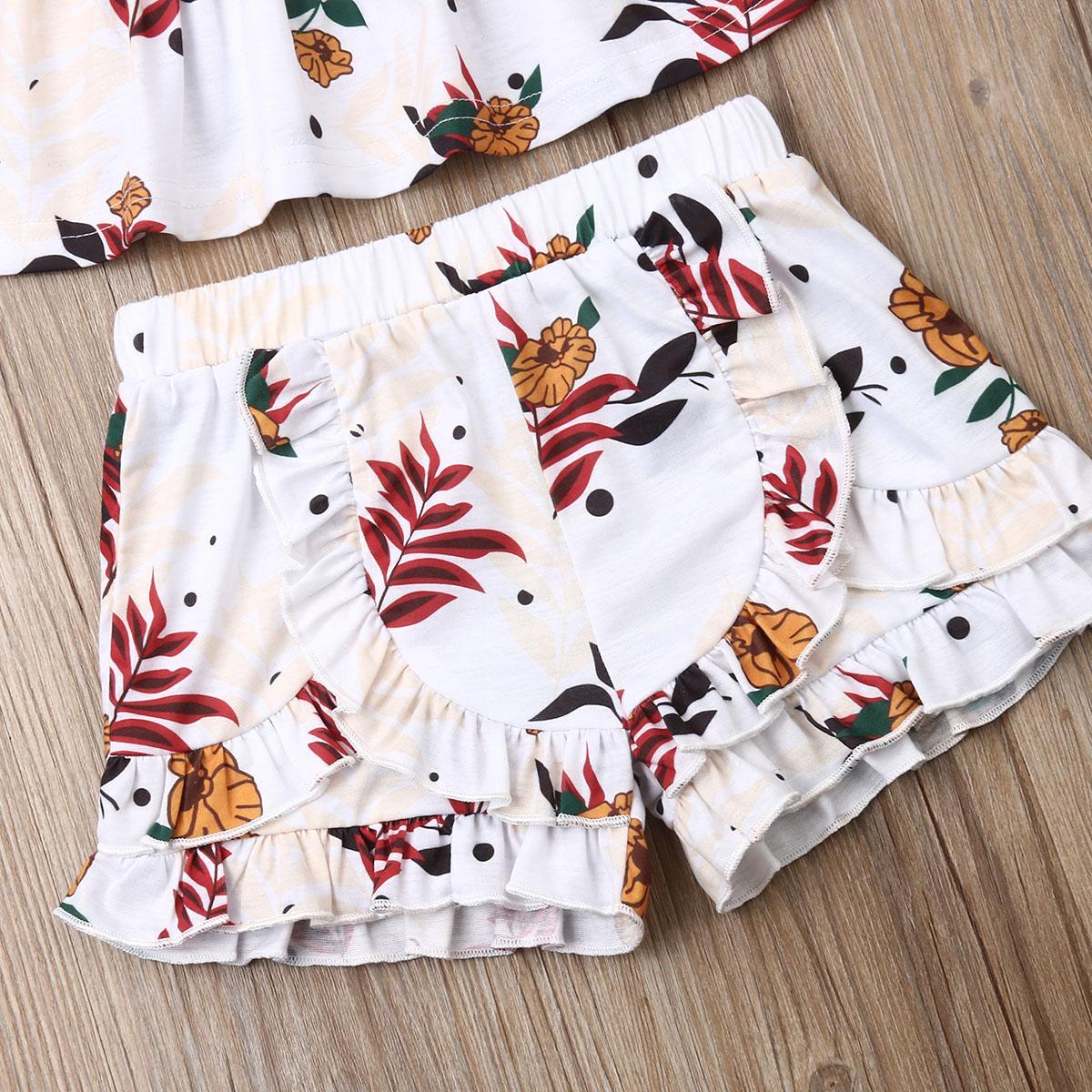 Enfants Set 3 pièces du nouveau-né bébé à volants plissés Floral Pantalon Bandeau coton Ruffles manches d'été Backless Livraison gratuite