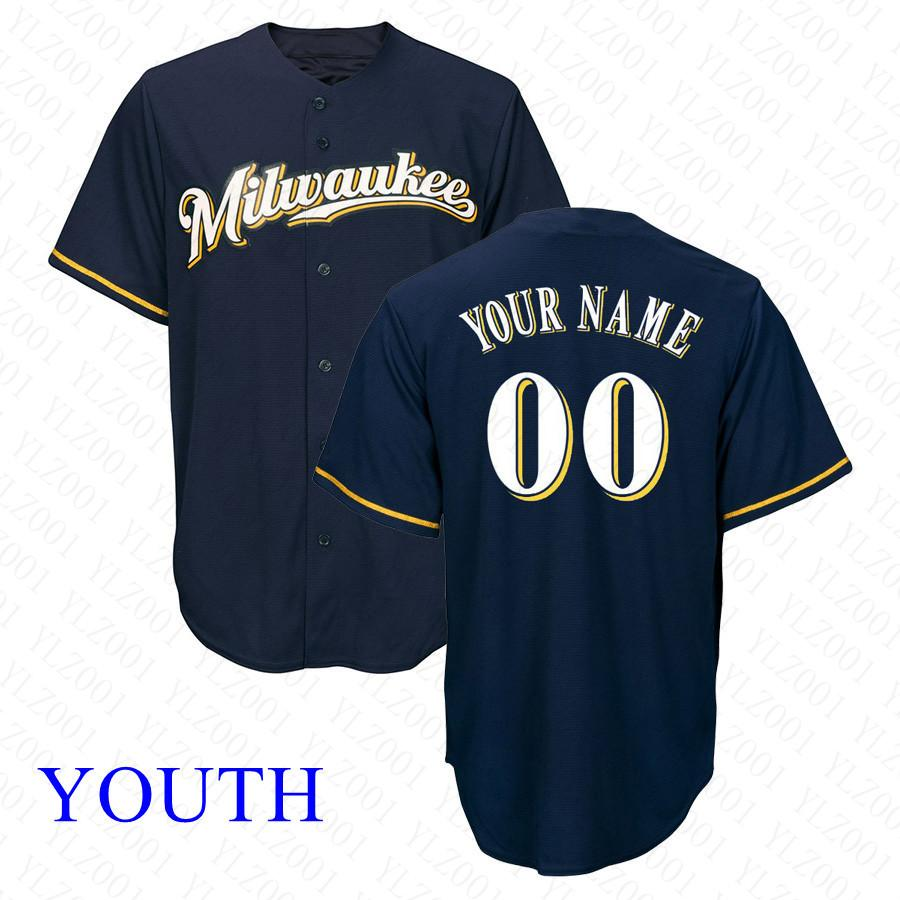 b18ee021e 2019 Youth Christian Yelich Jersey Custom Brewers Eric Thames Manny ...