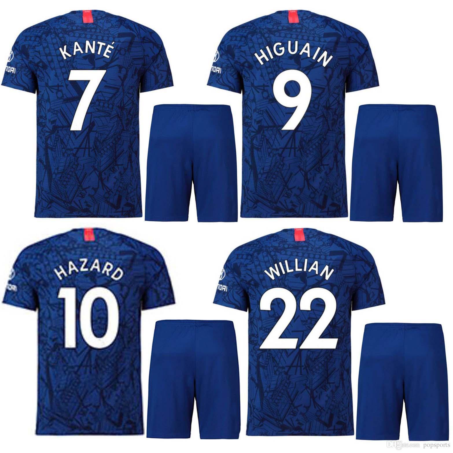 various colors d8bdd 9d78b 2019 2020 top HAZARD Home kit Stadium Shirt soccer Jersey short KANTE  HIGUAIN 19/20 GIROUD WILLIAN JORGINHO football Shirt shorts