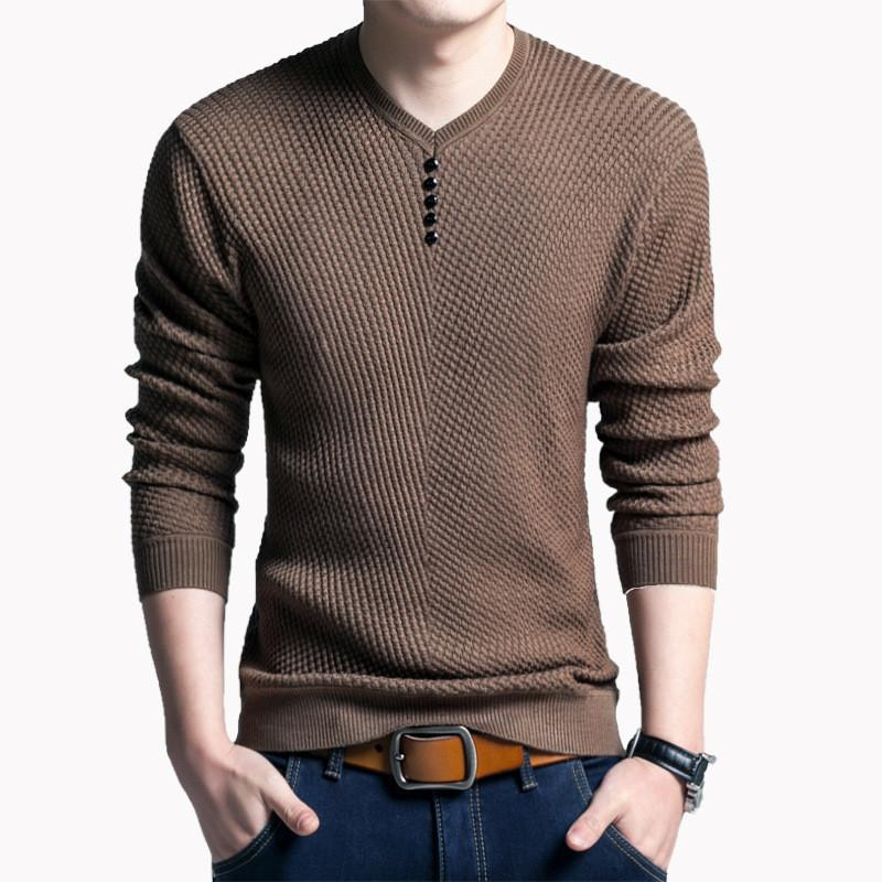 2019 Mens Sweaters Wool Casual Dress Cashmere Knitwear Pull Homme Solid Pullover Men V Neck Sweater Men Long Sleeve Shirt