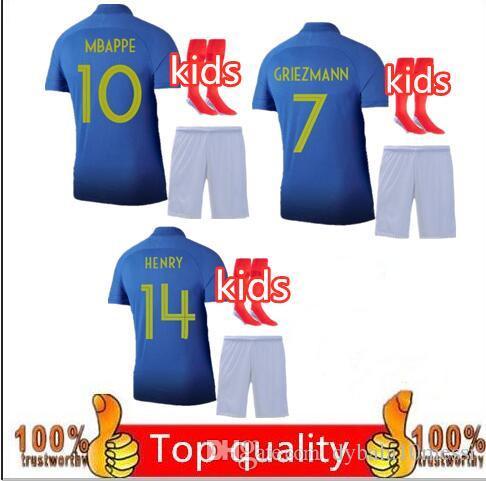 meet 0b0c7 fa35e kids kit+socks uniforms 2019 2020 100th anniversary MBAPPE POGBA GRIEZMANN  KANTE child football kit jersey 2018 Enfant maillot soccer jerse