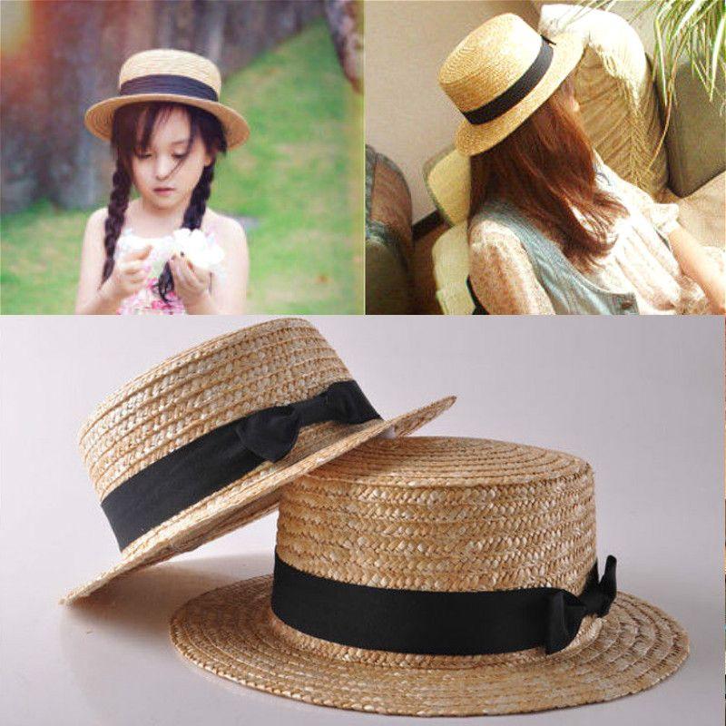 ec3a8bed8 2019 Boho Straw Sun Hat Women Kid Girls Hats Beach Hats Wide Brim Flat  Summer Cap