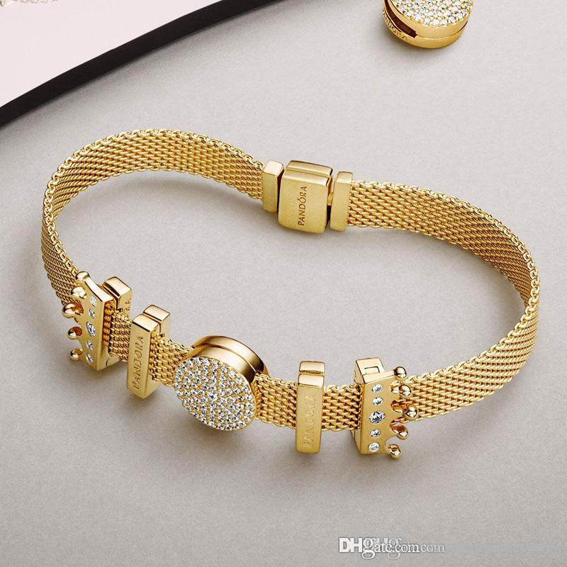 4e99e582d4 Black Friday 2018 Pandora Reflexions Shine Rose Gold Charm Bracelet 925  Sterling Silver Jewelery Full Original Packages Silver Charm Bracelets Gold  Charms ...