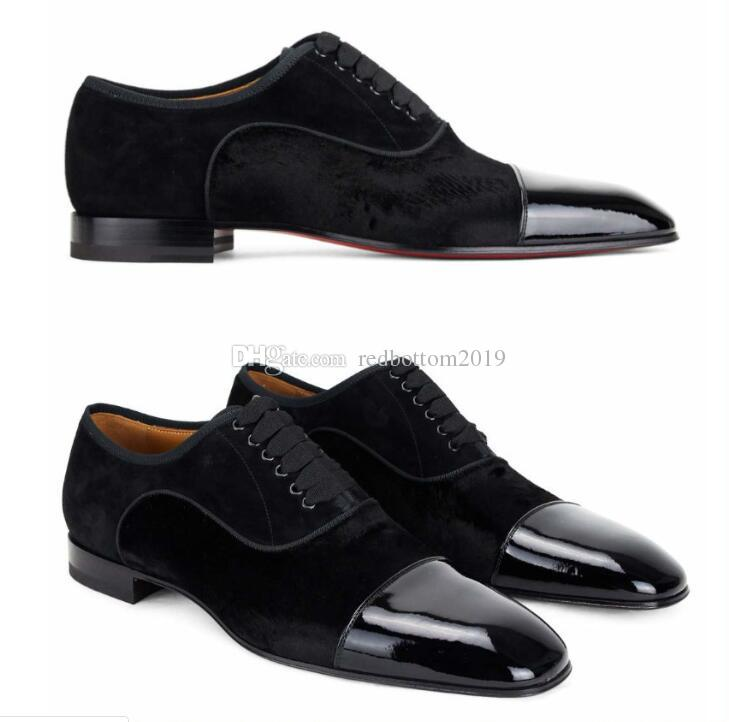 6e94c71985b Elegant Business Dress Lace-up Loafers For Men Greggo Orlato Velvet Leather  Gentleman Red Bottom Oxford Walking Perfect Gift With Box 35-46