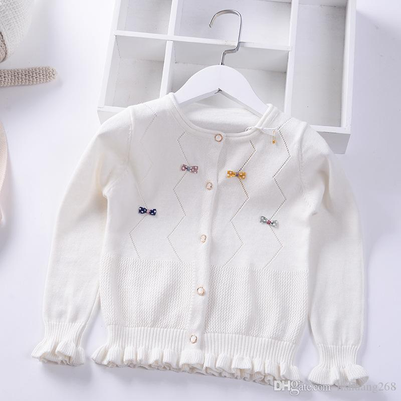 f6cfd92262fc 2019 Spring Summer Girls Sweater Bow Lace Knitted Cardigan Autumn ...