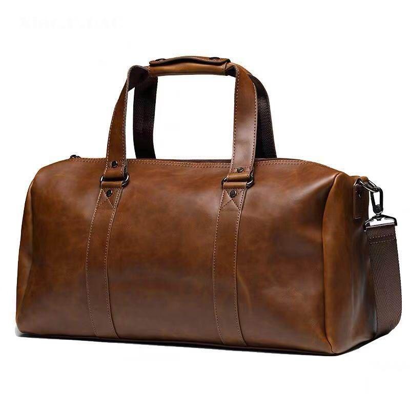 ca6d9126185 GUMST New Vintage Crazy Horse Pu Leather Men Travel Bags Luggage Travel Bag  Leather Men's Duffle Bags Large Men Weekend Bag