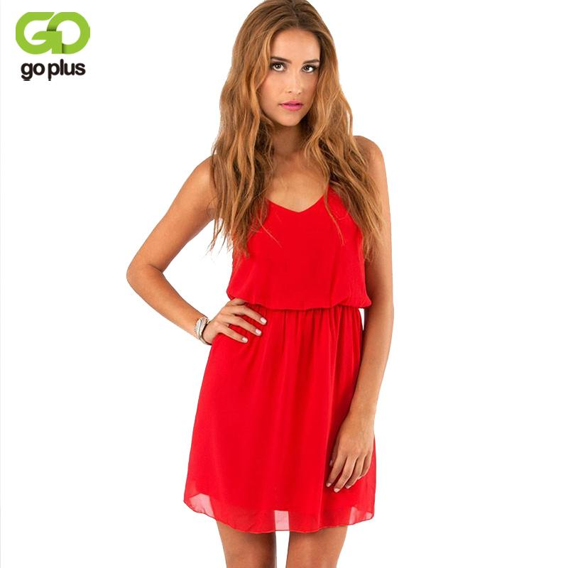 6c736e4b2e0 2019 GOPLUS 2019 Summer Style Chiffon Party Dress Women Casual V Neck Beach  Dress Sleeveless Red Black Sweet Mini Dresses Plus Size Y181227 From  Zhengrui01