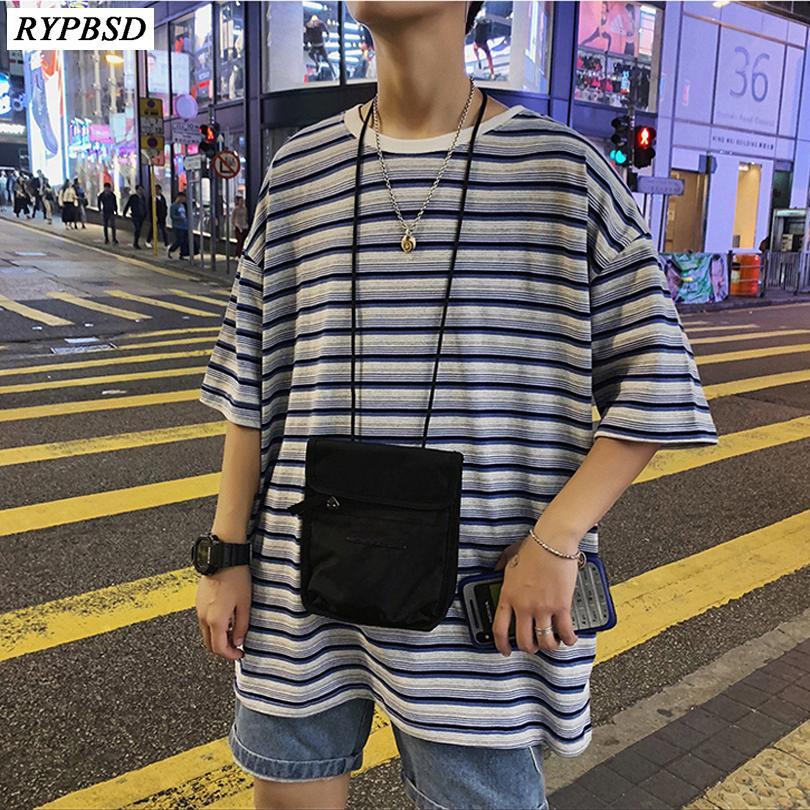 d5c4d481c 2019 Summer Korean Style Men's Round Neck Cotton Clothing Colour Stripe  Printing Short Sleeve Male T-shirts Big Size S-3XL