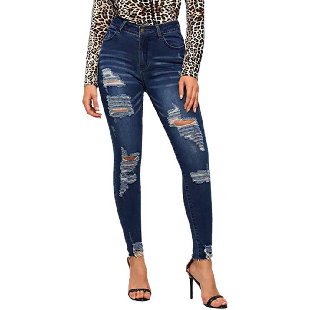 1173dffe2d8 2019 Women Jeans Pants Denim Long Mid Waist Office Lady Plus Size ...