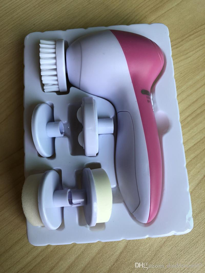 5 in 1 Electrical face brush Multifunction Electrical Facial Cleansing Brush Spa Operated Kit face care massager DHL free shipping