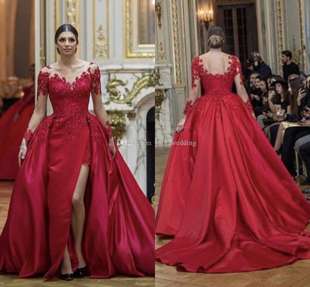 Plus Size Red Evening Dresses Sheer Neck Long Sleeves Appliques ...
