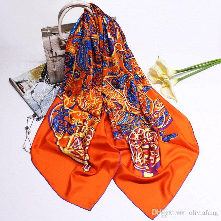 781e16d9fca Luxury Brand 100% Twill Silk Scarf Large Square Scarf 140x140cm New Design  Print Kerchief Woman Neck Shawl Wraps Echarpe Pashmina Hijabs Rea
