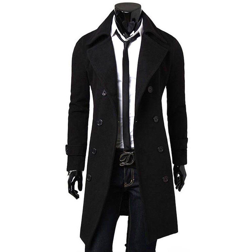 e4259075bbc2b Fashion Men s Trench Coat Warm Thicken Long Sleeve Woolen Blend ...
