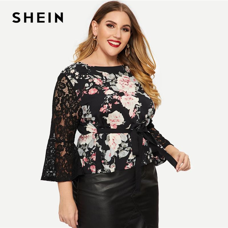 0672ceaa710672 2019 SHEIN Black Plus Size Knot Front Contrast Lace Sleeve Sheer Floral  Peplum Top Blouses 2019 Women Spring Flower Top Blouse From Hongyeli, ...