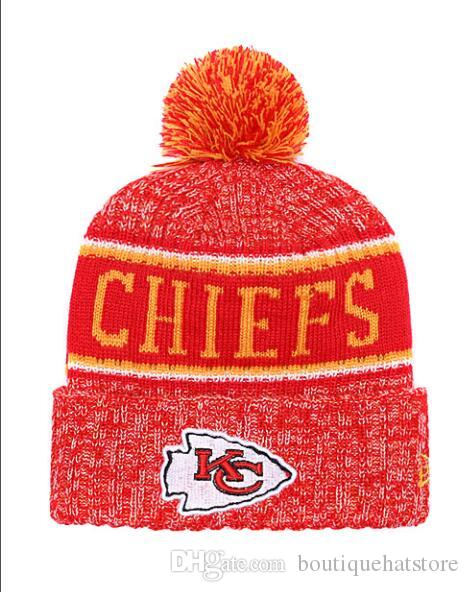 fb2b1340e53cb9 2019 Top Quality Brand KC Chiefs Street Hip Hop Beanies With Funny Pom Classic  Fashion Casual Winter Wool Skullies Beanie Hat For Men And Women From ...