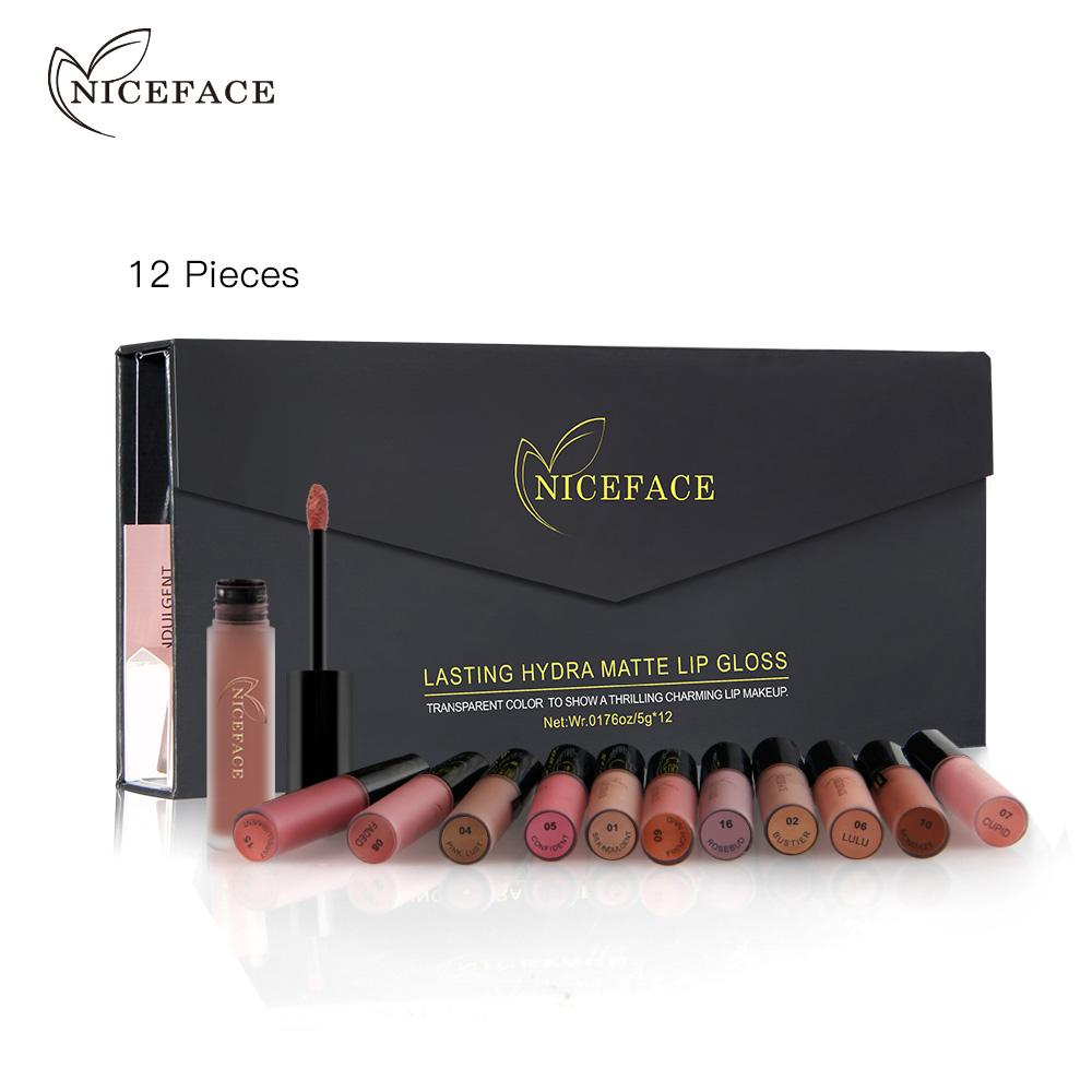 Free Shipping NICEFACE Matte Long-Lasting Lipstick 12 Colors Sets Lip Gloss Waterproof Lip Stick Sexy Kit Beauty Lips Paint Makeup Lipstick