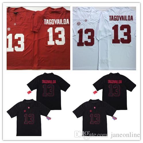 sports shoes 25a94 b283a 2019 Men NCAA New Alabama Crimson Tide #13 Tua Tagovailoa College Football  Jerseys Tagovailoa Uniforms Stitched Embroidery White Red Black