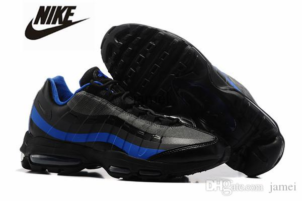 2019 Original Top Quality Nike Air Max 95 TT Premium SE Classic Men's Air Mattress Running Shoes Essential Retro Male Cushioning Jogging Black, Shock